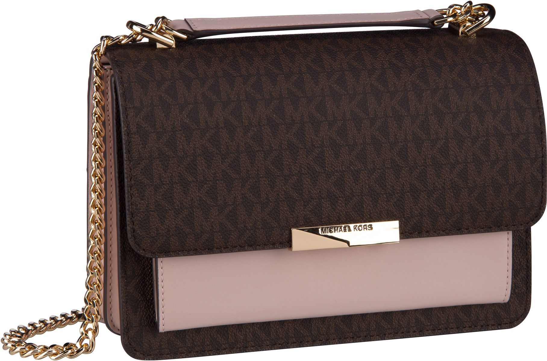 Michael Kors Handtasche Jade Large Gusset Shoulder Brown/Soft Pink (innen: Rosé)