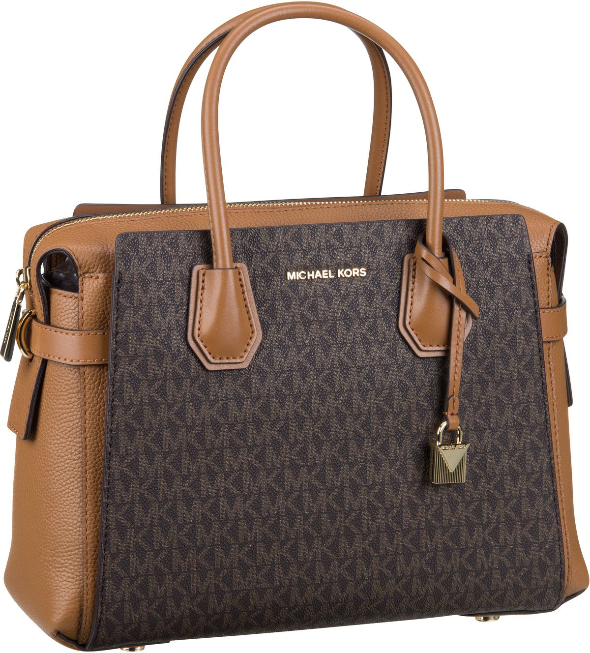 Michael Kors Handtasche Mercer Belted Medium Satchel MK Signature Brown