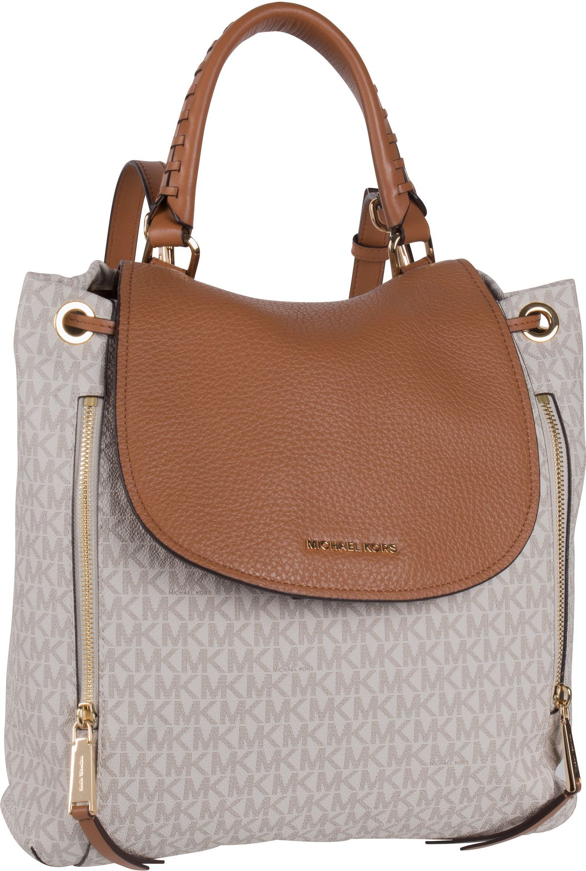 Rucksaecke - Michael Kors Rucksack Daypack Viv Large Backpack MK Signature Vanilla Acorn  - Onlineshop Taschenkaufhaus