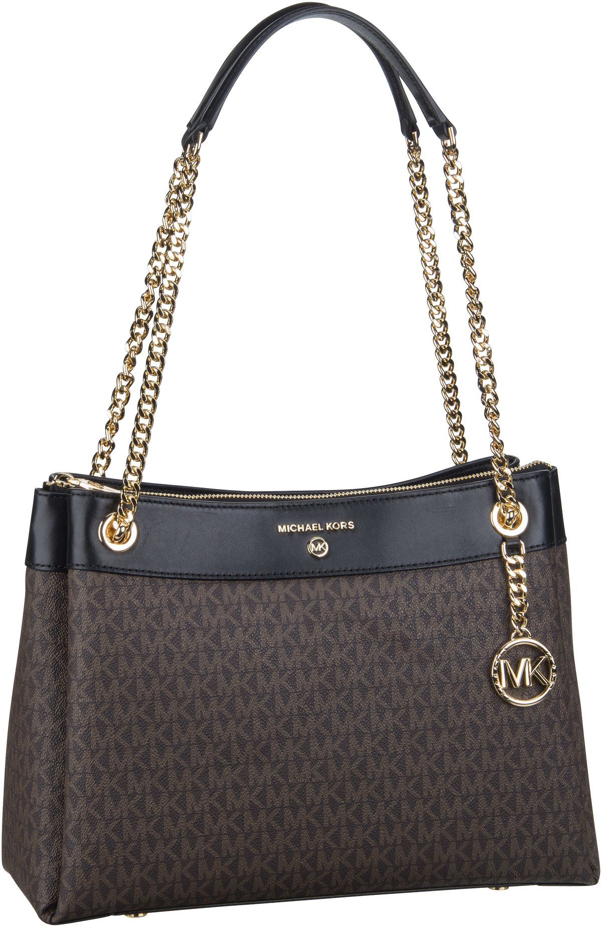 Michael Kors Handtasche Susan Medium Shoulder MK Signature Brown/Black