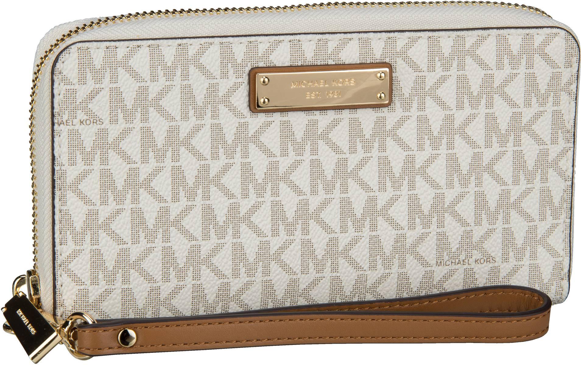Michael Kors Handtasche Jet Set Large Flat MF Phone Case MK Signature Vanilla