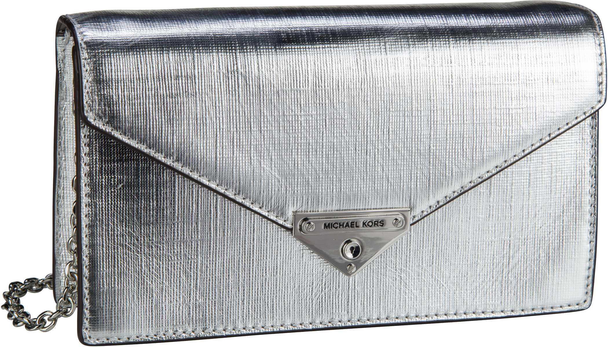 Clutches - Michael Kors Abendtasche Clutch Grace Medium Envelope Clutch Silver  - Onlineshop Taschenkaufhaus