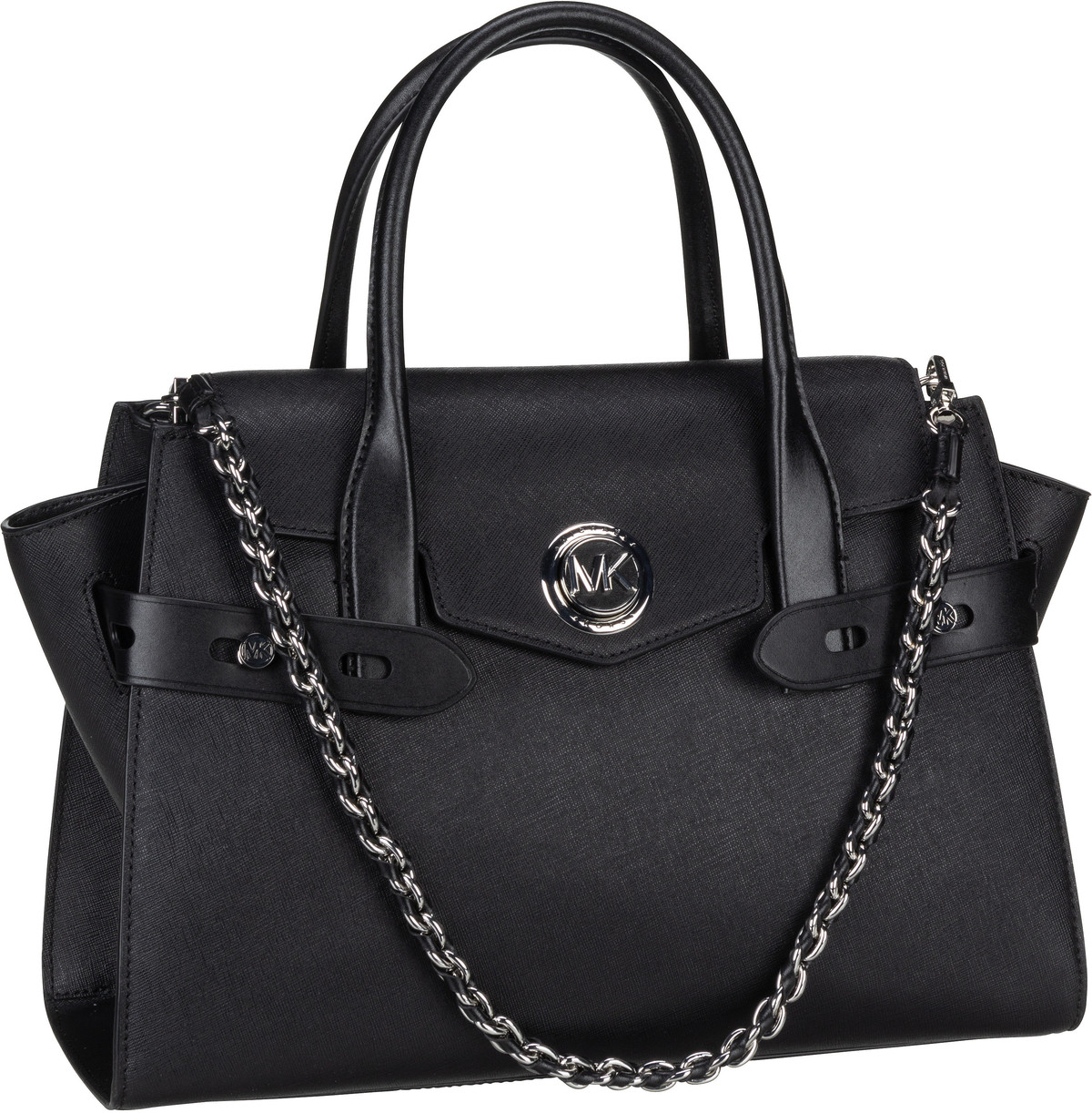 Michael Kors Handtasche Carmen Large Flap Satchel Black/Rhodium