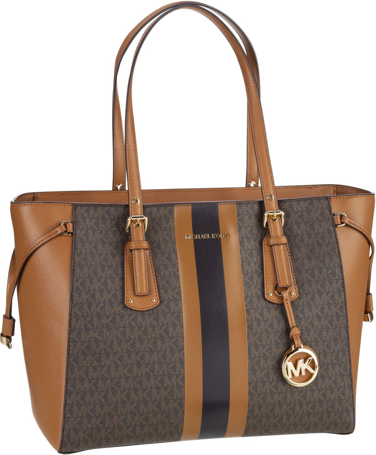 michael kors -  Handtasche Voyager Medium MF TZ Tote MK Signature Stripe Brown/Acorn