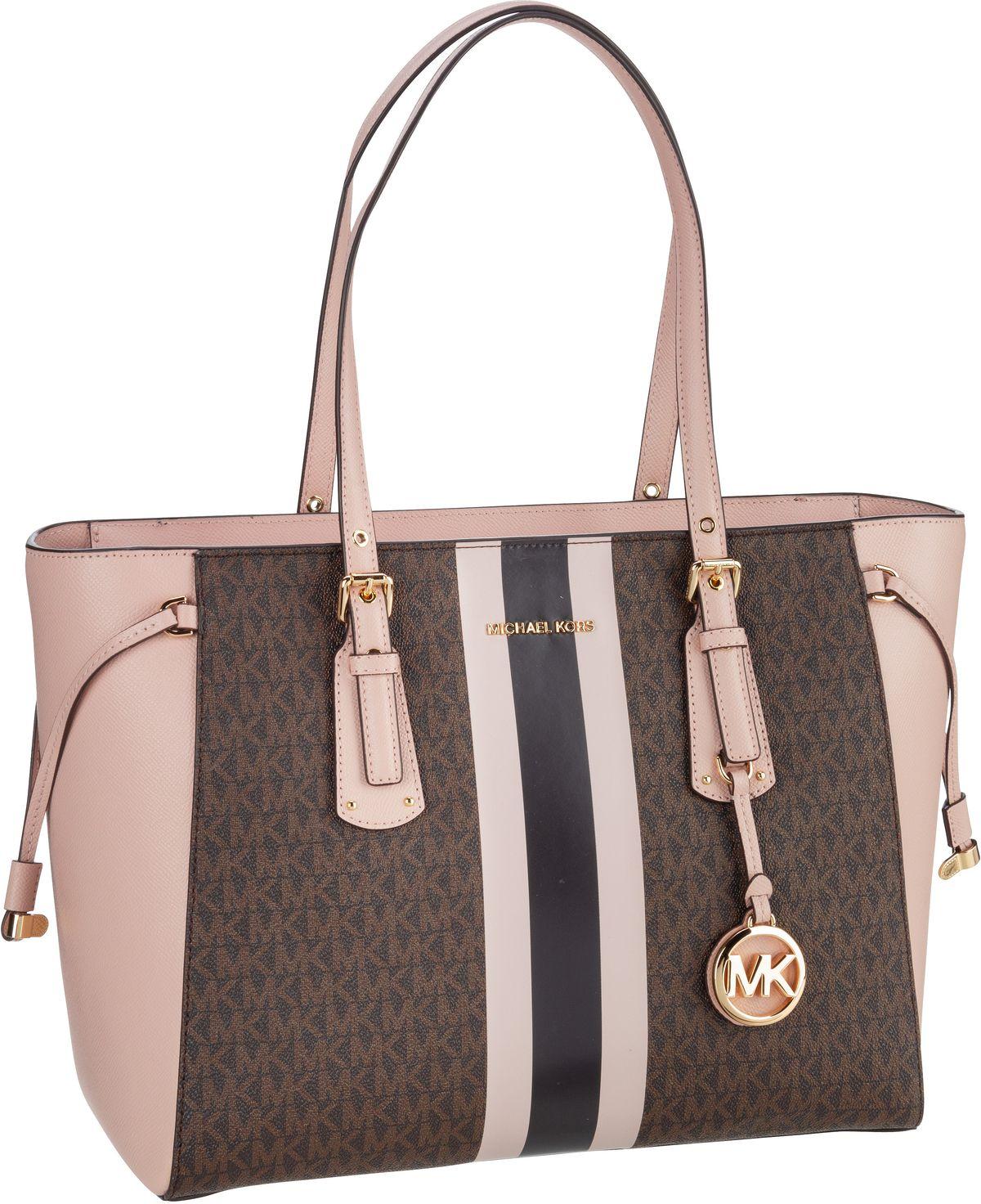 michael kors -  Handtasche Voyager Medium MF TZ Tote MK Signature Stripe Brown/Soft Pink