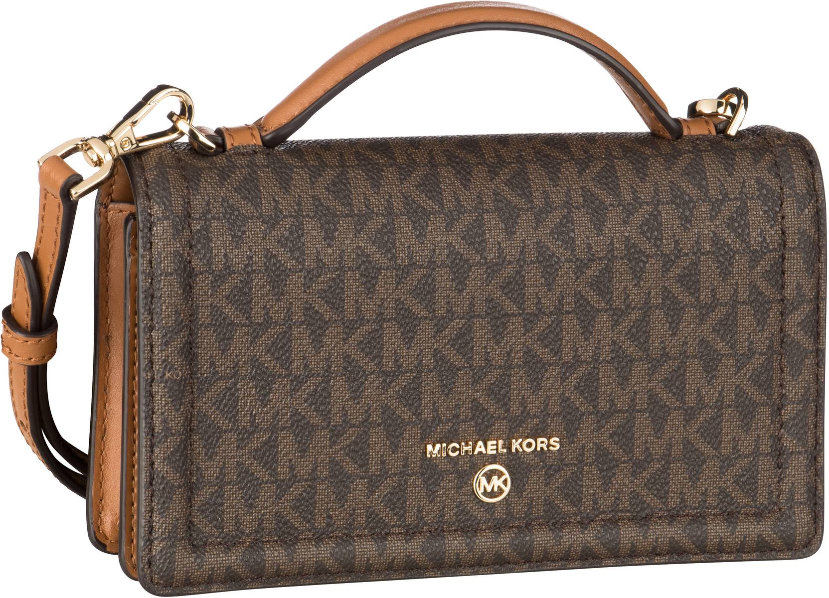 Michael Kors Umhängetasche Jet Set Charm TH Phone Xbody MK Signature Brown/Acorn