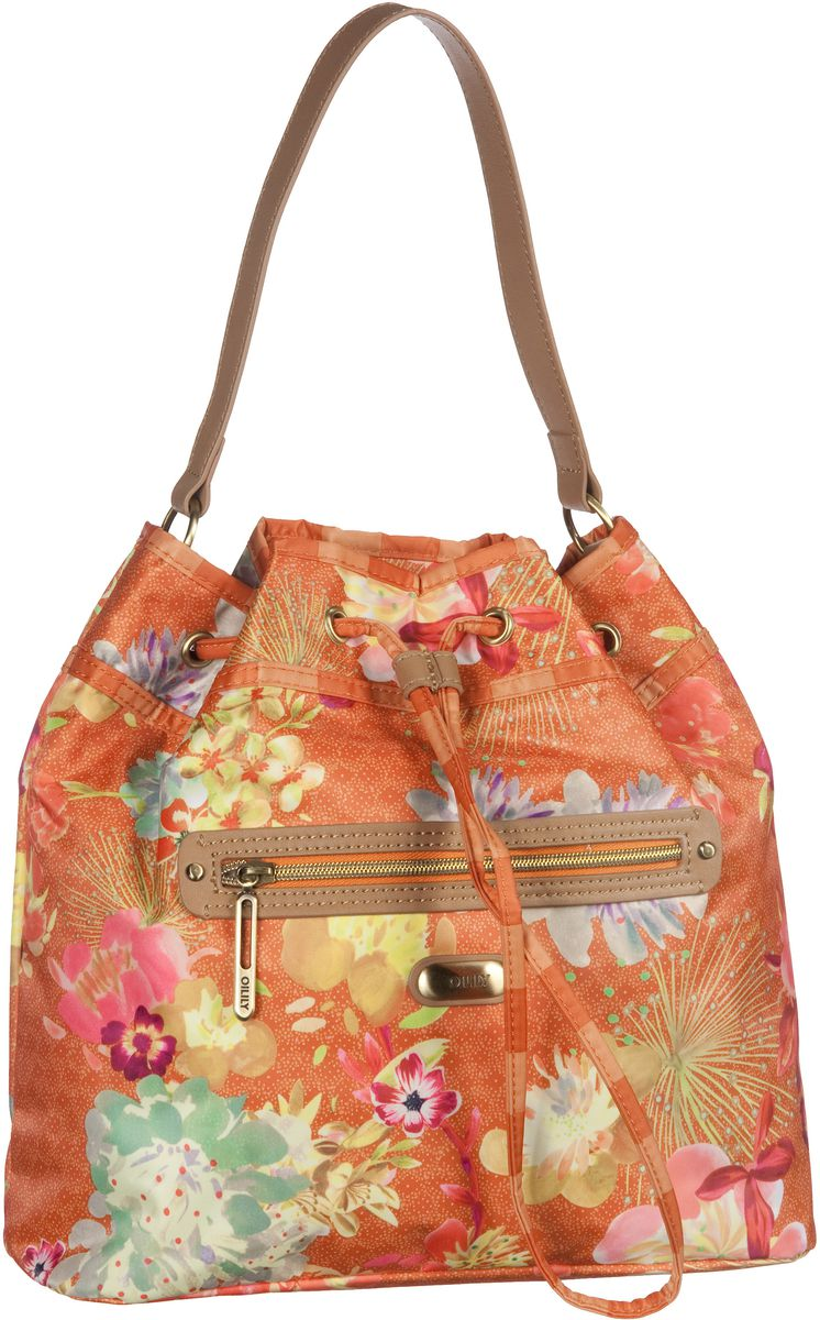 Oilily Handtasche Tropical Peony Drawstring Bag Orange: (innen: grün-weiß gemustert) - Bucket Bag, Bucket Bags, Handtaschen