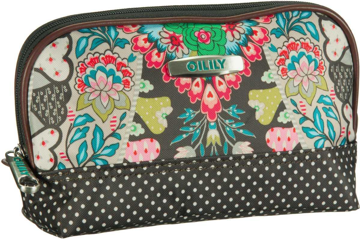 Oilily Kosmetiktasche Travel S Toiletry Bag Charcoal (innen: Beige/Türkis) - Kosmetiktasche, Kosmetiktaschen