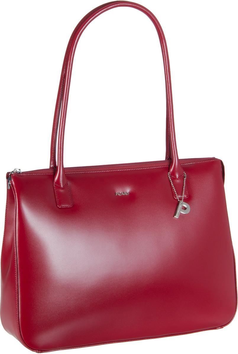 Handtasche Promo 5 Ledertasche Rot (innen: Nachtblau)