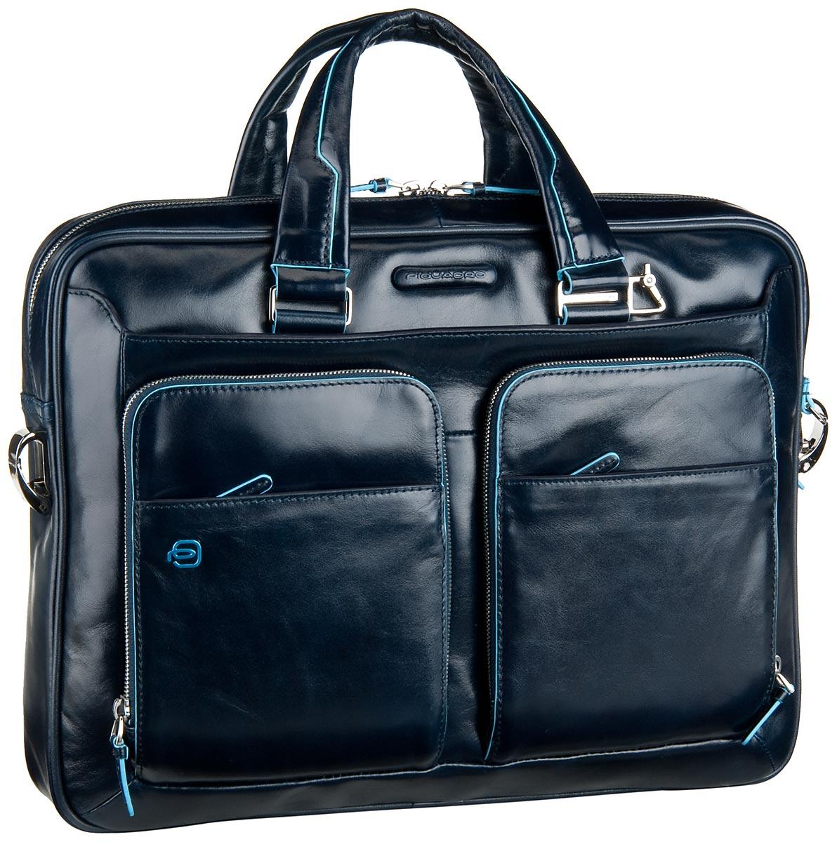 Businesstaschen für Frauen - Piquadro Blue Square Laptoptasche Blu notte (innen Blau) Aktentasche  - Onlineshop Taschenkaufhaus