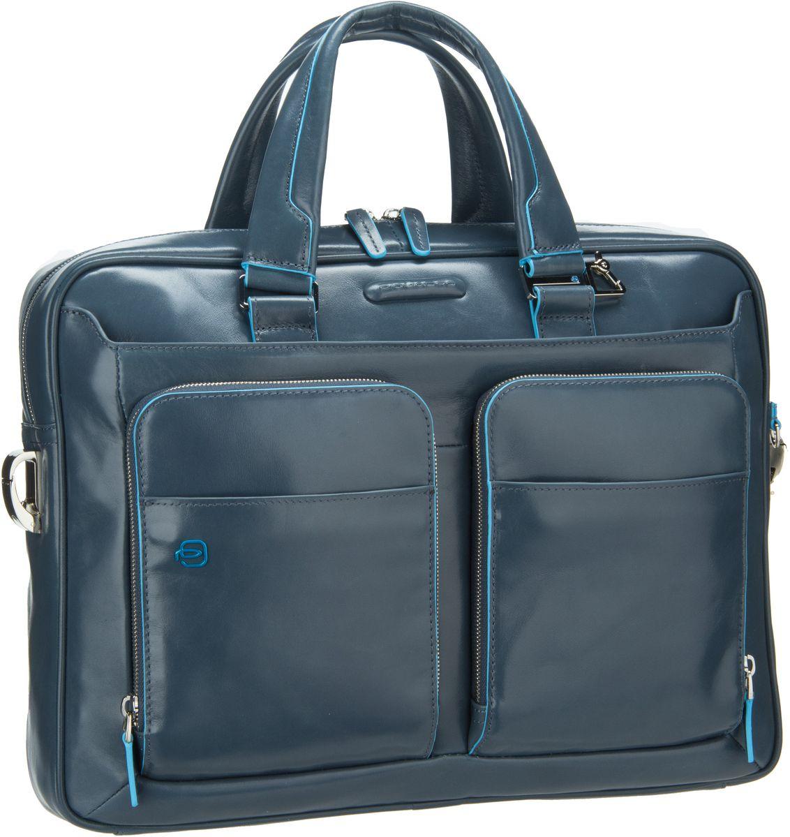Businesstaschen für Frauen - Piquadro Blue Square Laptoptasche Avio (innen Grau) Aktentasche  - Onlineshop Taschenkaufhaus
