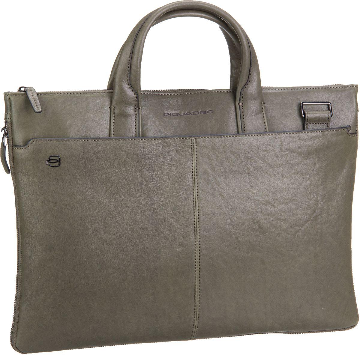 Businesstaschen für Frauen - Piquadro Black Square 4021 Connequ Verde Oliva Aktenmappe  - Onlineshop Taschenkaufhaus