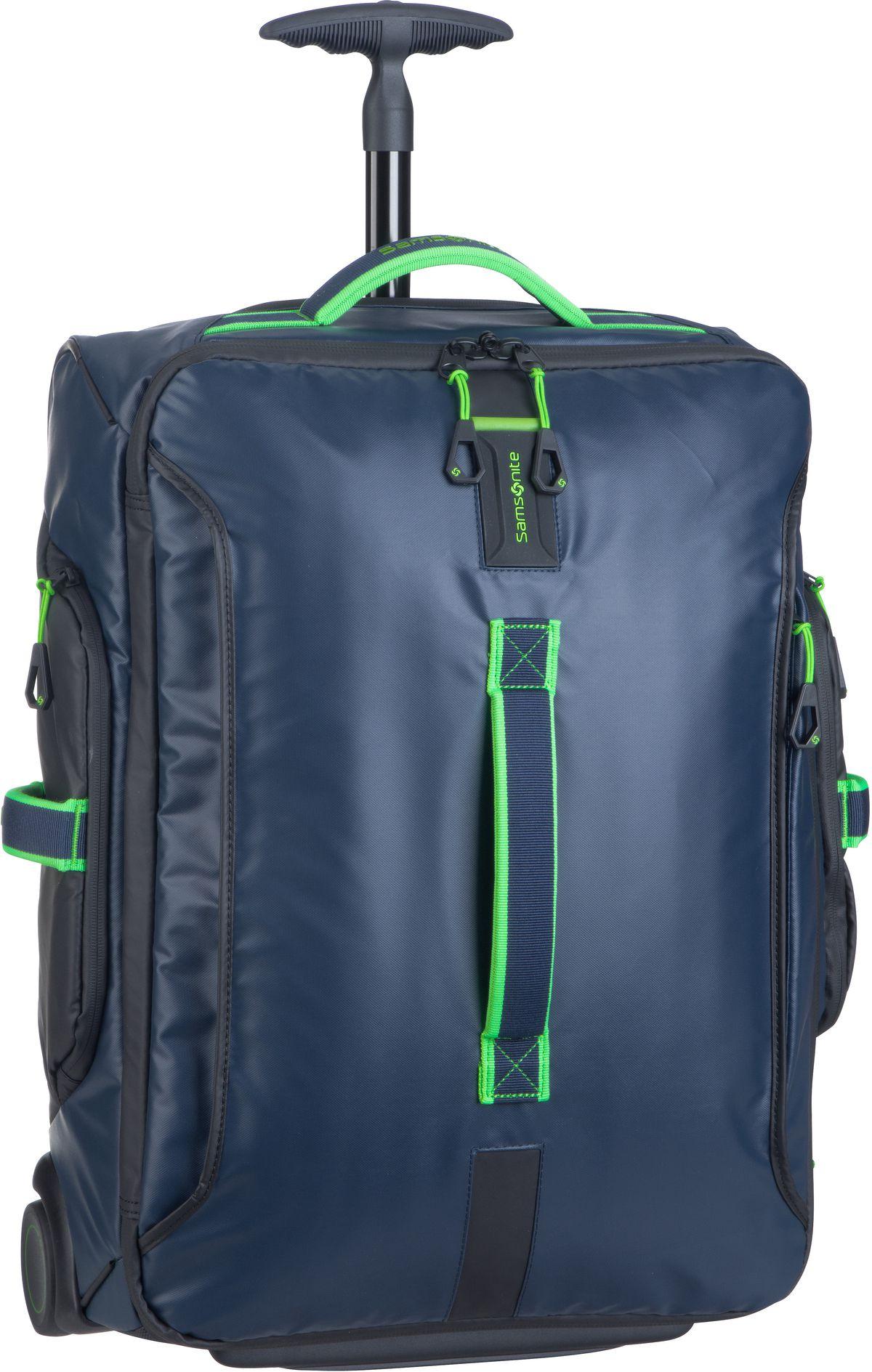 Reisegepaeck für Frauen - Samsonite Trolley Koffer Paradiver Light Wheeled Cabin Duffle 55 Night Blue Fluo Green (48.5 Liter)  - Onlineshop Taschenkaufhaus