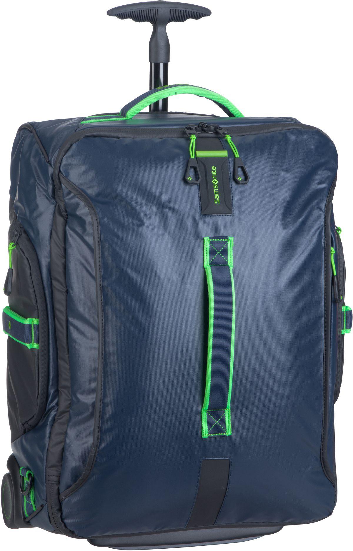 Reisegepaeck für Frauen - Samsonite Trolley Koffer Paradiver Light Wheeled Backpack Duffle 55 Night Blue Fluo Green (51 Liter)  - Onlineshop Taschenkaufhaus
