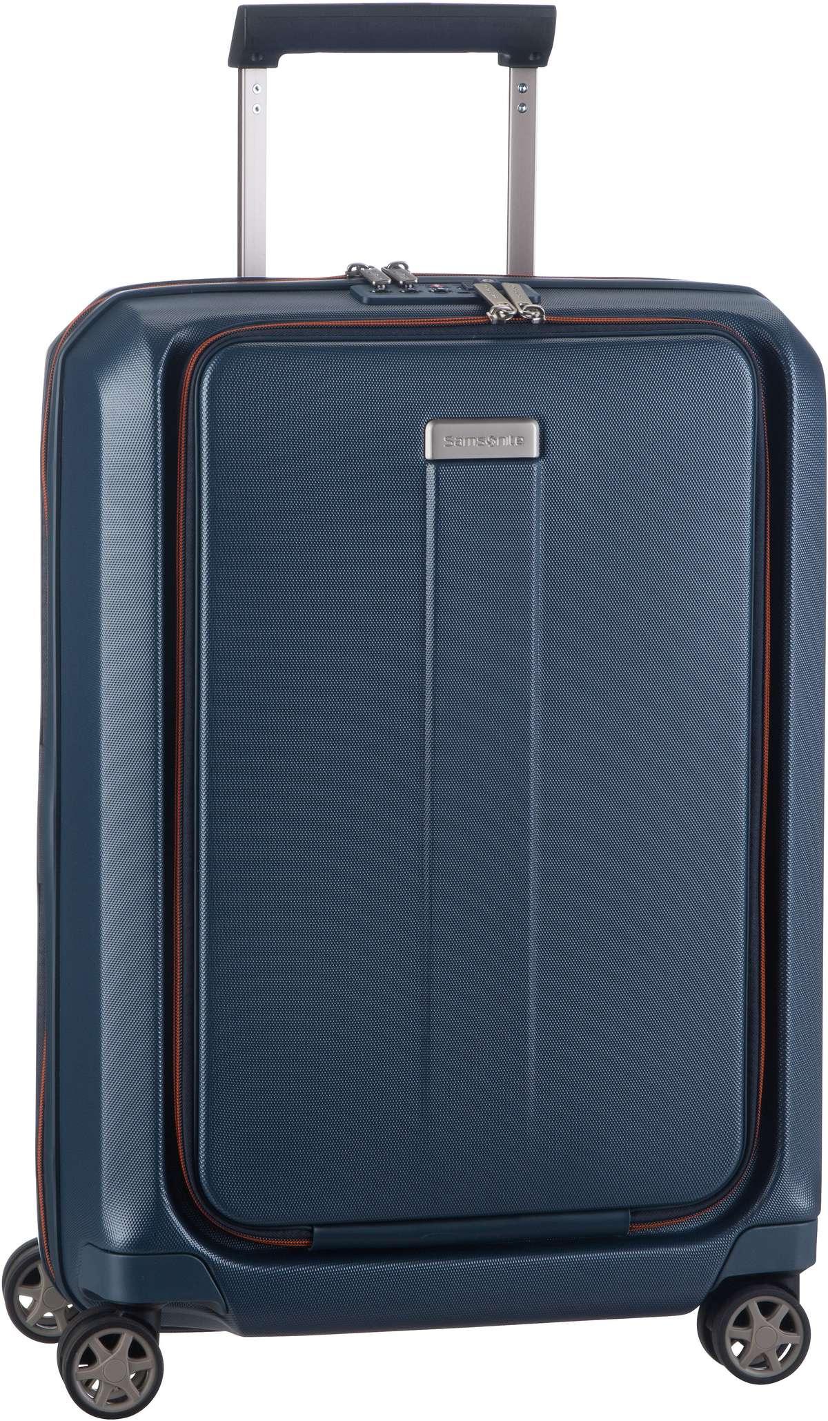 Reisegepaeck für Frauen - Samsonite Trolley Koffer Prodigy Spinner 55 Expandable Blue Orange (40 Liter)  - Onlineshop Taschenkaufhaus