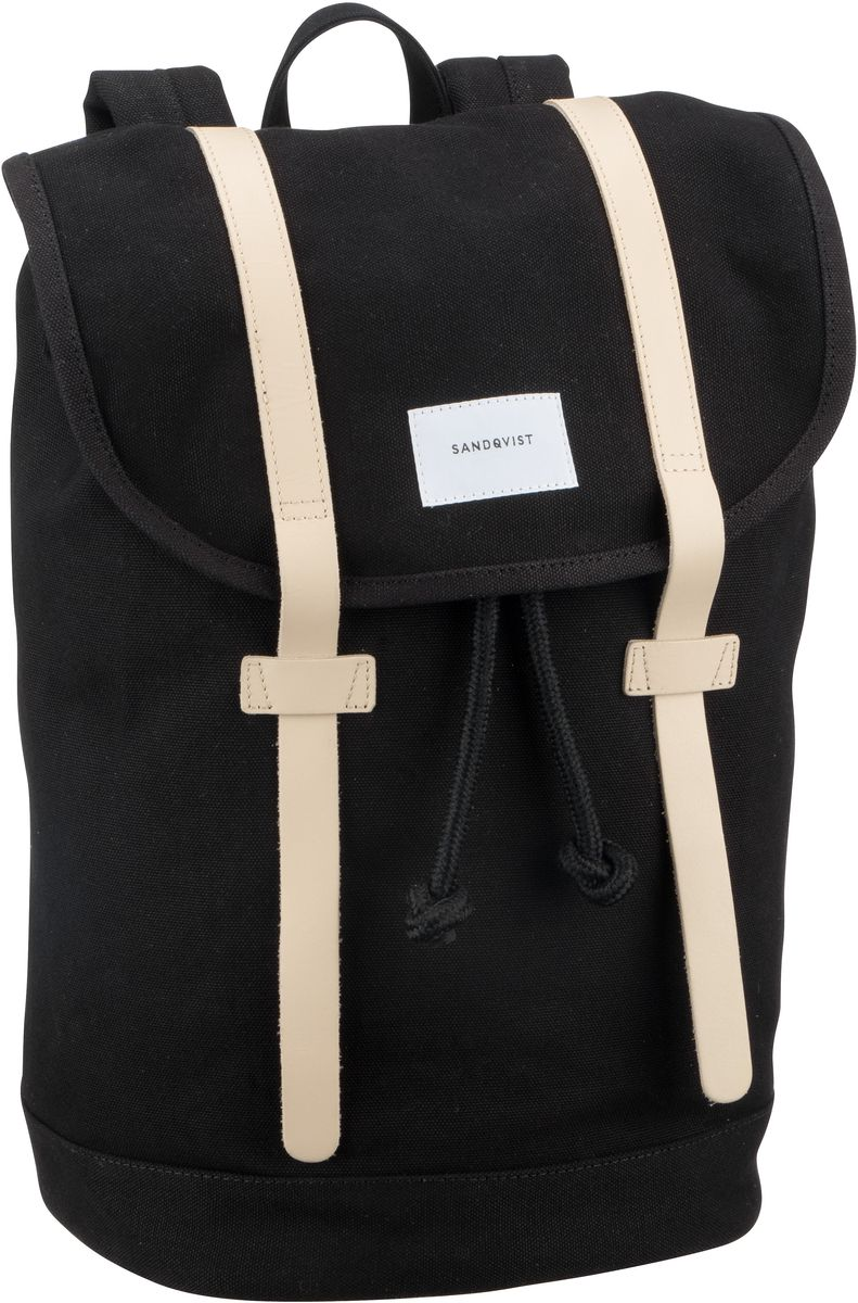 Laptoprucksack Stig Canvas Backpack Black with Tan (14 Liter)