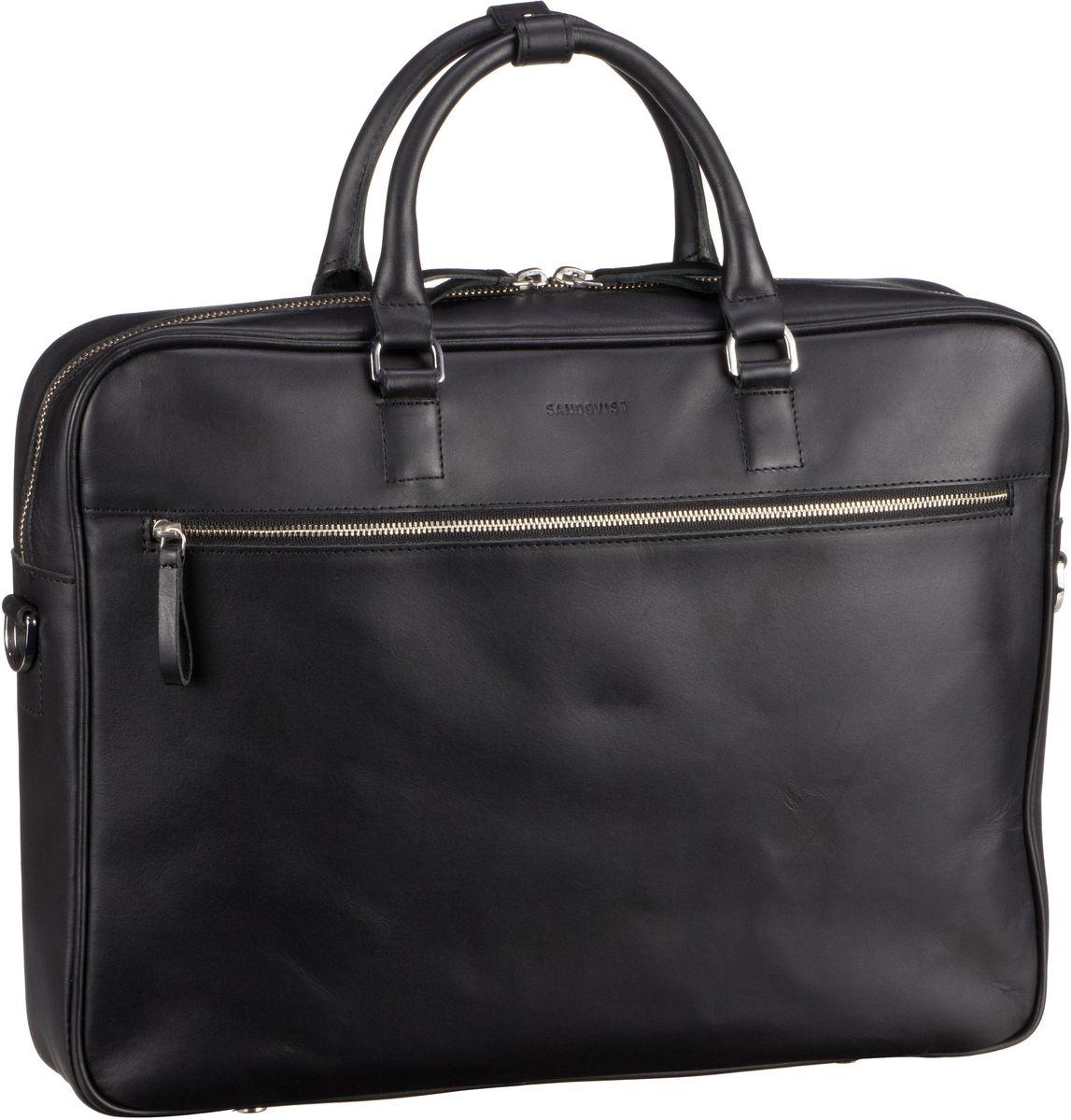 Businesstaschen für Frauen - Sandqvist Aktenmappe Dag Briefcase Black (6 Liter)  - Onlineshop Taschenkaufhaus