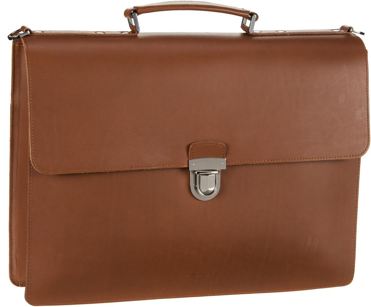 Businesstaschen für Frauen - Sandqvist Aktenmappe Jan Briefcase Cognac Brown  - Onlineshop Taschenkaufhaus
