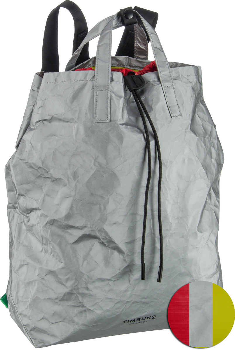Rucksack / Daypack Paper Bag Tote Silver (innen: Gelb) (16 Liter)