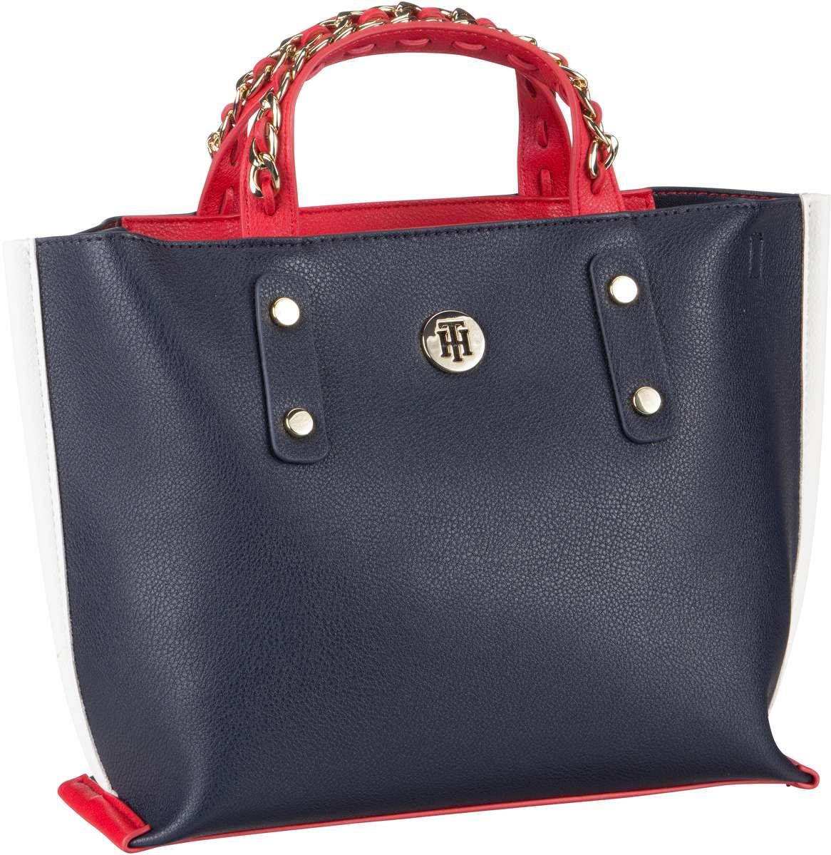 Handtaschen für Frauen - Tommy Hilfiger Handtasche Tommy Chain SM Tote 5462 Tommy Navy  - Onlineshop Taschenkaufhaus