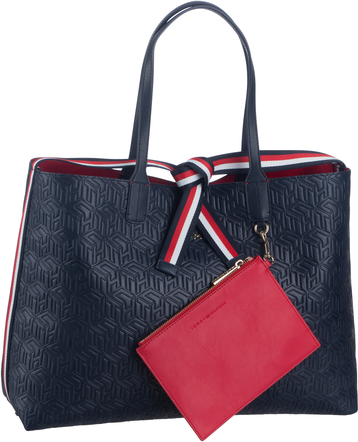 Handtasche Iconic Tommy Tote Monogram PSP20 Tommy Navy Embossed Monogram