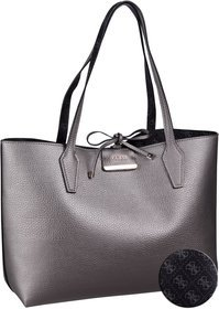 Guess Bobbi Inside Out Tote Logo - Pewter/Logo (innen: Schwarz)